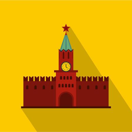 spasskaya: Spasskaya Tower of Moscow Kremlin icon. Flat illustration of Moscow Kremlin vector icon for web design
