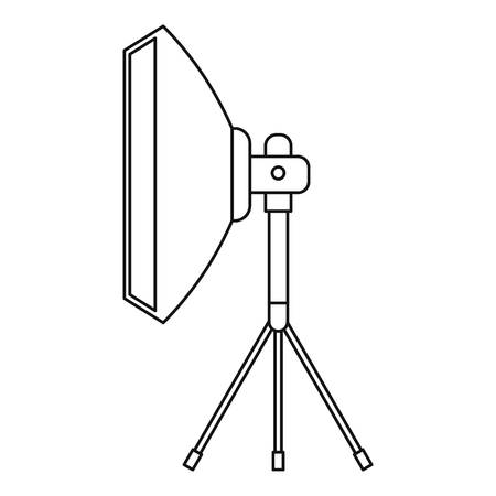 floodlight: Studio light bulb in softbox icon. Outline illustration of Studio light bulb in softbox vector icon for web
