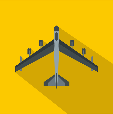 Armed fighter jet icon. Flat illustration of armed fighter jet vector icon for web isolated on yellow background Ilustração