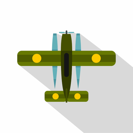 Ski equipped airplane icon. Flat illustration of ski equipped airplane vector icon for web