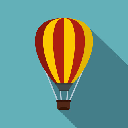 aerostat: Hot air ballon icon. Flat illustration of hot air ballon vector icon for web isolated on light blue background