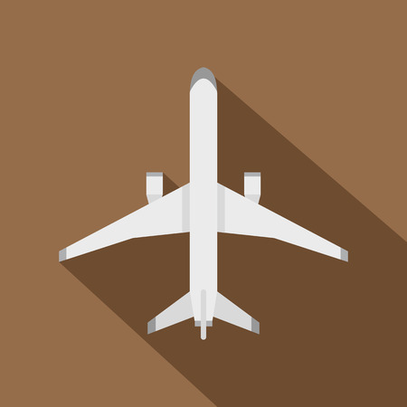 Plane icon. Flat illustration of plane vector icon for web isolated on coffee background