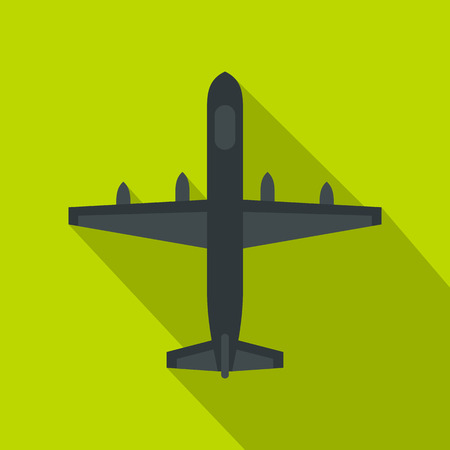 Military plane icon. Flat illustration of plane vector icon for web isolated on lime background Illustration