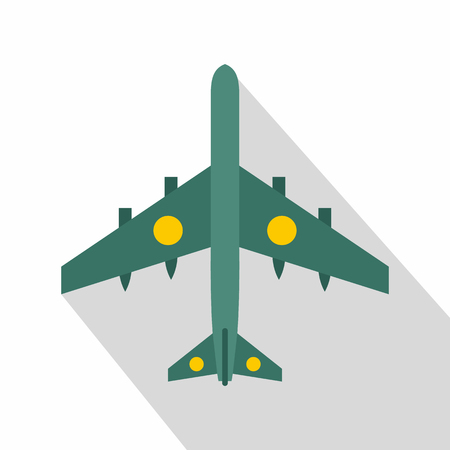 Military fighter aircraft icon. Flat illustration of military fighter aircraft vector icon for web