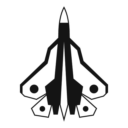 Military fighter plane icon. Simple illustration of fighter plane vector icon for web