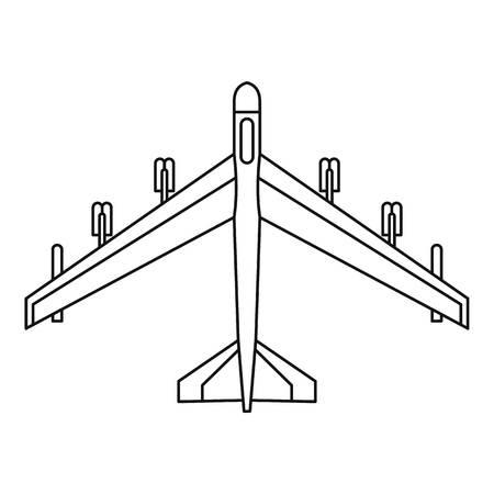 fighter jet: Armed fighter jet icon. Outline illustration of fighter jet vector icon for web