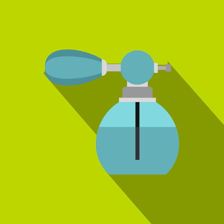 pulverizer: Blue perfume bottle with vaporizer icon. Flat illustration of perfume bottle vector icon for web isolated on lime background