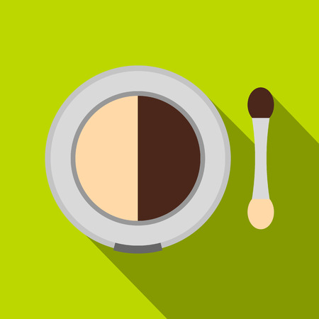Shadow palette with applicator icon. Flat illustration of shadow palette with applicator vector icon for web isolated on lime background Illustration