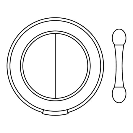 Shadow kit with applicator icon. Outline illustration of shadow kit with applicator vector icon for web