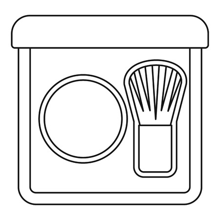 rouge: Rouge with brush icon. Outline illustration of rouge with brush vector icon for web