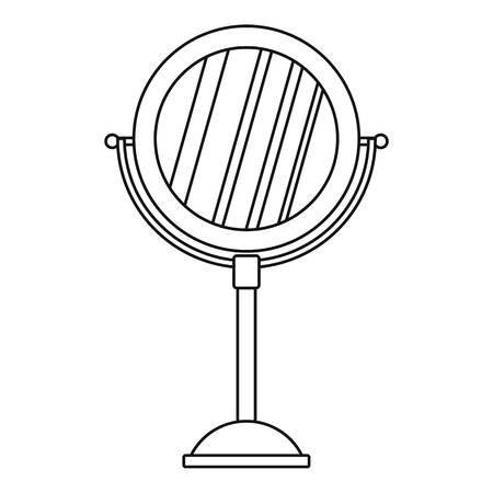personal grooming: Round make up mirror icon. Outline illustration of round make up mirror vector icon for web