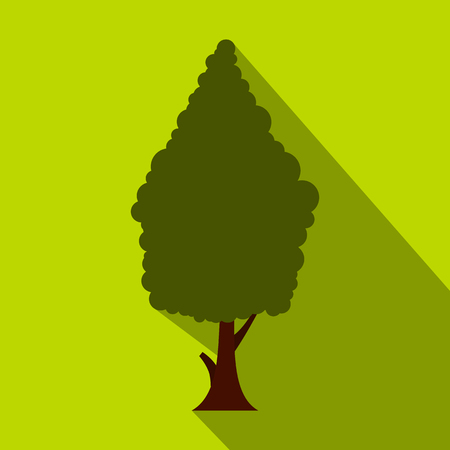 cypress: Green cypress icon. Flat illustration of cypress vector icon for web isolated on lime background