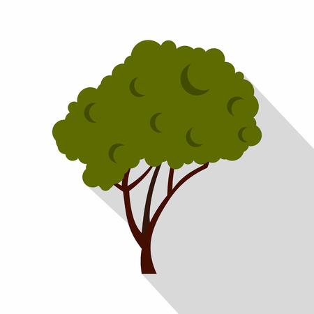 arboles frondosos: Árbol verde con un icono de copa redondeada. ilustración plana del icono del vector del árbol para la web