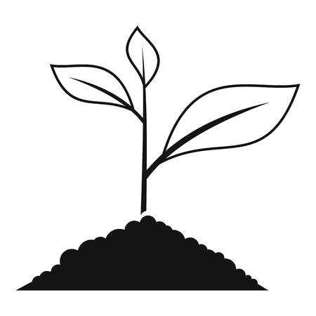 germinate: Growing plant icon. Simple illustration of growing green plant vector icon for web