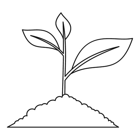 Young plant icon. Outline illustration of young plant vector icon for web Illustration