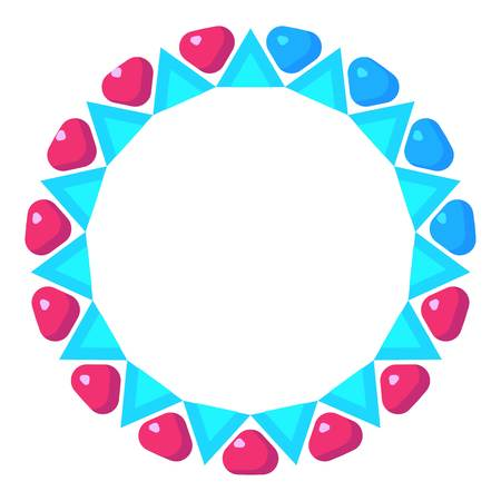 completion: Loading circle with pink and blue hearts icon. Cartoon illustration of vector icon for web