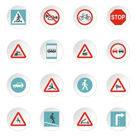 Road signs icons set. Flat illustration of 16 road signs vector icons for web Illustration