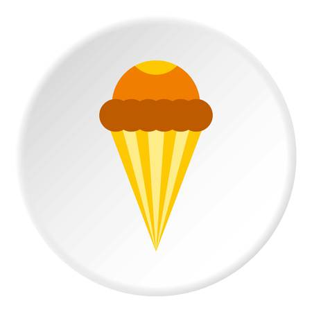 Ice cream cone with frosting icon. Flat illustration of ice cream cone with frosting vector icon for web