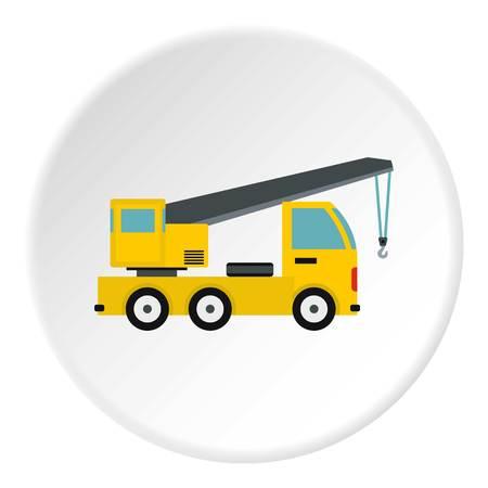 Camion con icona della gru. Illustrazione piana del camion con l'icona di vettore della gru per il web