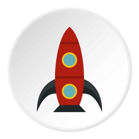 Rocket with portholes icon. Flat illustration of rocket with portholes vector icon for web Illustration