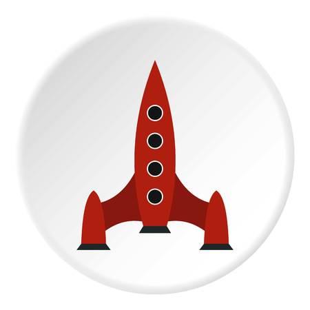 Rocket with four portholes icon. Flat illustration of rocket with four portholes vector icon for web