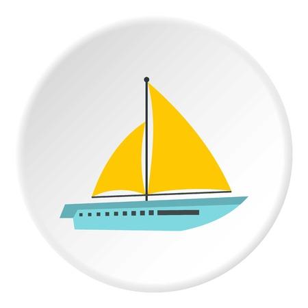 sailing yacht: Sailing yacht icon. Flat illustration of sailing yacht vector icon for web