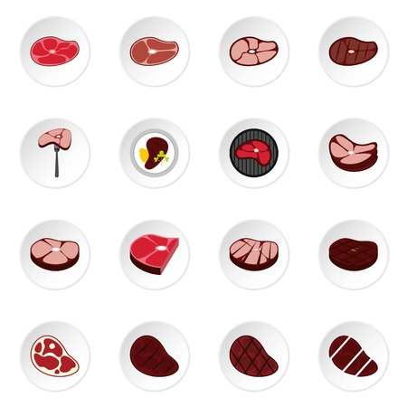 edible: Steak icons set. Flat illustration of 16 steak vector icons for web