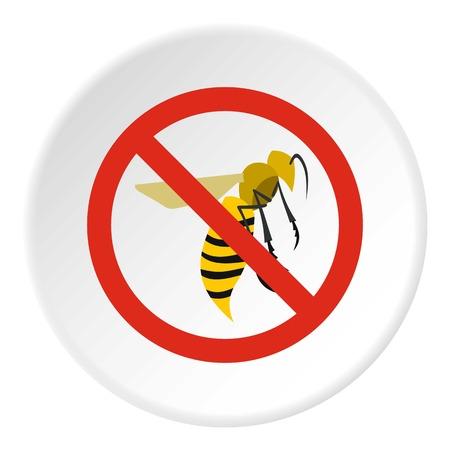 wasps: Prohibition sign wasps icon. Flat illustration of prohibition sign wasps vector icon for web
