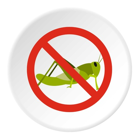 Prohibition sign grasshoppers icon. Flat illustration of prohibition sign grasshoppers vector icon for web Illustration
