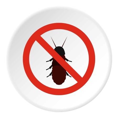 Prohibition sign coleoptera icon. Flat illustration of prohibition sign coleoptera vector icon for web