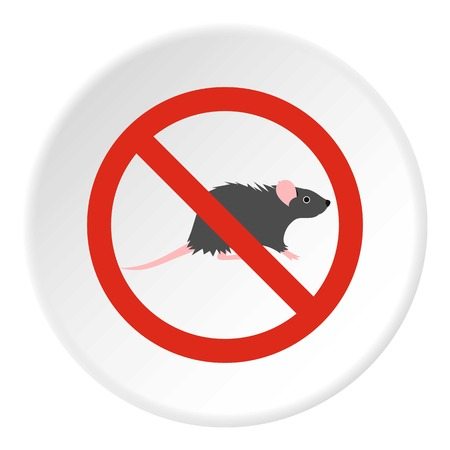 interdiction: Prohibition sign mouse icon. Flat illustration of prohibition sign mouse vector icon for web