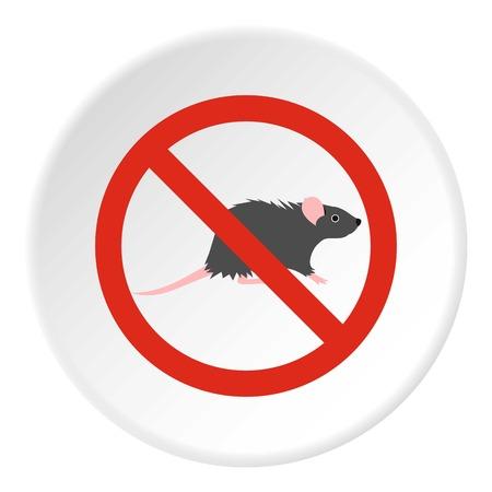 Prohibition sign mouse icon. Flat illustration of prohibition sign mouse vector icon for web