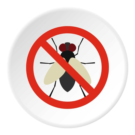 Prohibition sign flies icon. Flat illustration of prohibition sign flies vector icon for web
