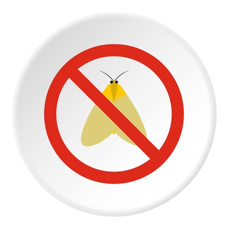 Prohibition sign moth icon. Flat illustration of prohibition sign moth vector icon for web