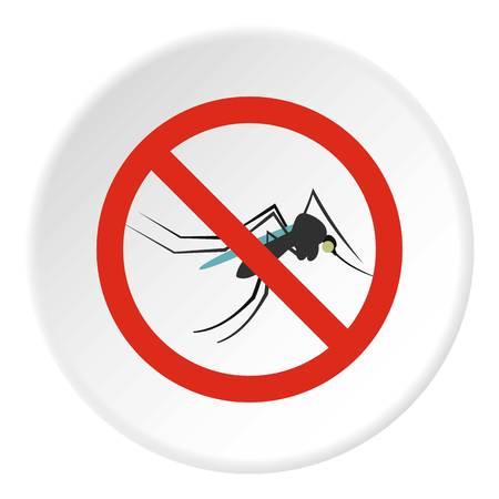 mosquitoes: Prohibition sign mosquitoes icon. Flat illustration of prohibition sign mosquitoes vector icon for web