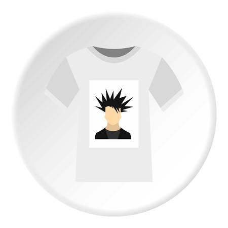 Printing photo on t-shirt icon. Flat illustration of printing photo on t-shirt vector icon for web Illustration