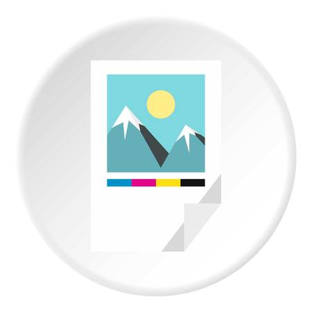 printed machine: Printed picture icon. Flat illustration of printed picture vector icon for web Illustration