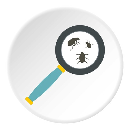 Magnifier and insects icon. Flat illustration of magnifier and insects vector icon for web