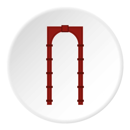 Red arch icon. Flat illustration of red arch vector icon for web