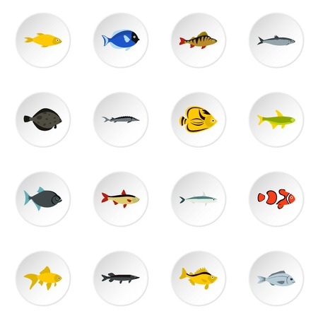 saury: Fish icons set. Flat illustration of 16 fish vector icons for web