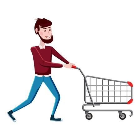 Man with shopping cart icon. Cartoon illustration of man with shopping cart vector icon for web Illustration