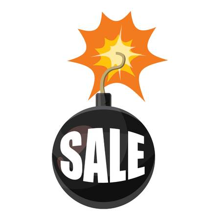 cartoon bomb: Bomb sale icon. Cartoon illustration of bomb sale vector icon for web