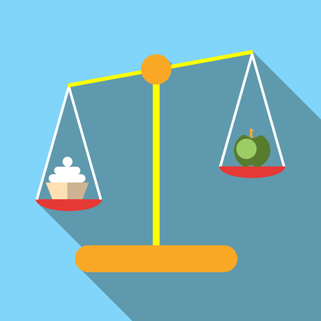 weigh machine: Scales with cookies and apple icon. Flat illustration of scales with cookies and apple vector icon for web Illustration