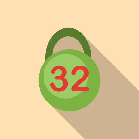 thirty: Weight thirty two pounds icon. Flat illustration of weight thirty two pounds vector icon for web Illustration