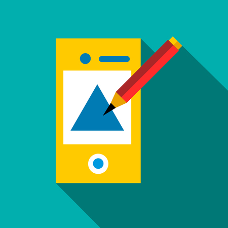 mobile app: Drawing in mobile app icon. Flat illustration of drawing in mobile app vector icon for web