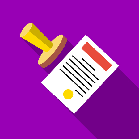 document icon: Seal to document icon. Flat illustration of seal to document vector icon for web Illustration