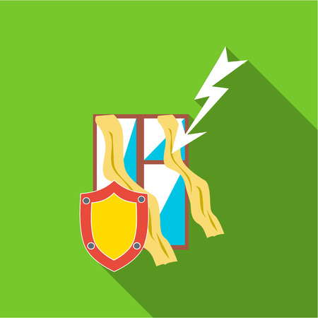 Protecting home from lightning icon. Flat illustration of protecting home from lightning vector icon for web Illustration