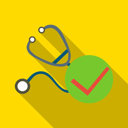 heart sounds: Stethoscope icon. Flat illustration of stethoscope vector icon for web Illustration