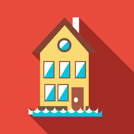 house flood: Flood house icon. Flat illustration of flood house vector icon for web Illustration