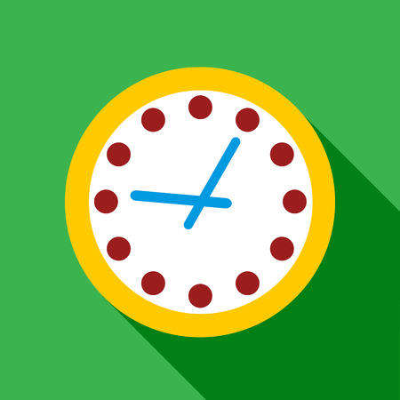 Wall clock with yellow edging icon. Flat illustration of wall clock with yellow edging vector icon for
